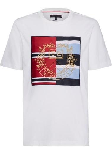 Tommy Hilfiger Erkek Mıxed Crest Relaxed Fıt Tişört MW0MW10821 Beyaz